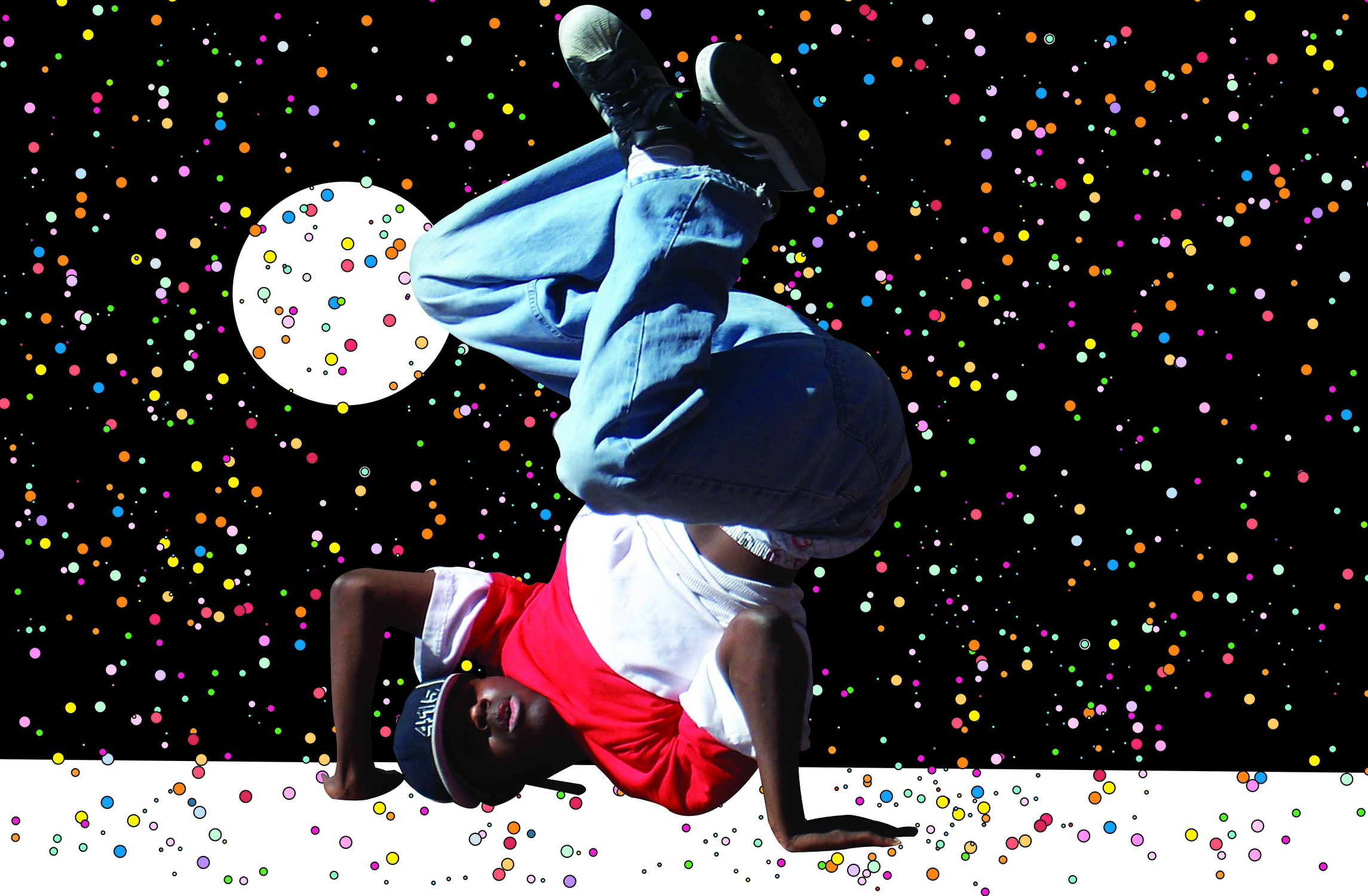 A photo illustration I did of the breakdancer picture I took.